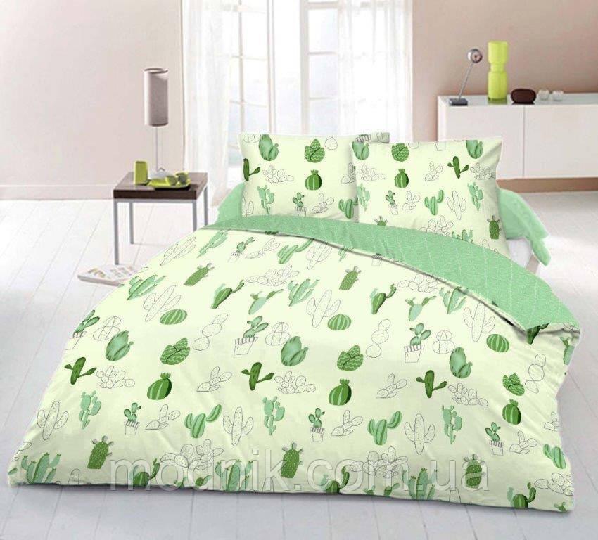 Полуторное постельное белье (светлое) - Зеленый кактус