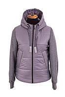 Куртка женская осень-весна с капюшоном 42-48 серый