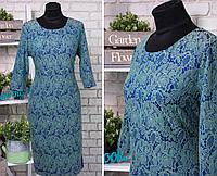 """Стильное женское платье """"Стрейч-коттон"""" с рельефным рисунком 50, 52 размер батал"""