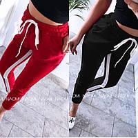 Штаны женские спортивные, с лампасами, стильные, повседневные, модные, укороченые, до 48 р, фото 1