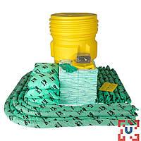 SKH-95 Прочная бочка на 279 л для сбора проливов химических реагентов: 100 салф, 41 см x 51 см, 8 подушек, 43 см x 48 см, 12 бонов SOC, диам.