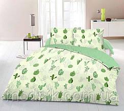 Двоспальне постільна білизна (біло-зелене) - Зелений кактус