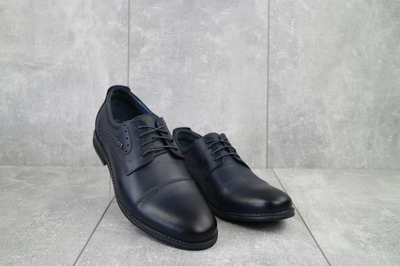 Мужские туфли кожаные весна/осень синие Vivaro 555