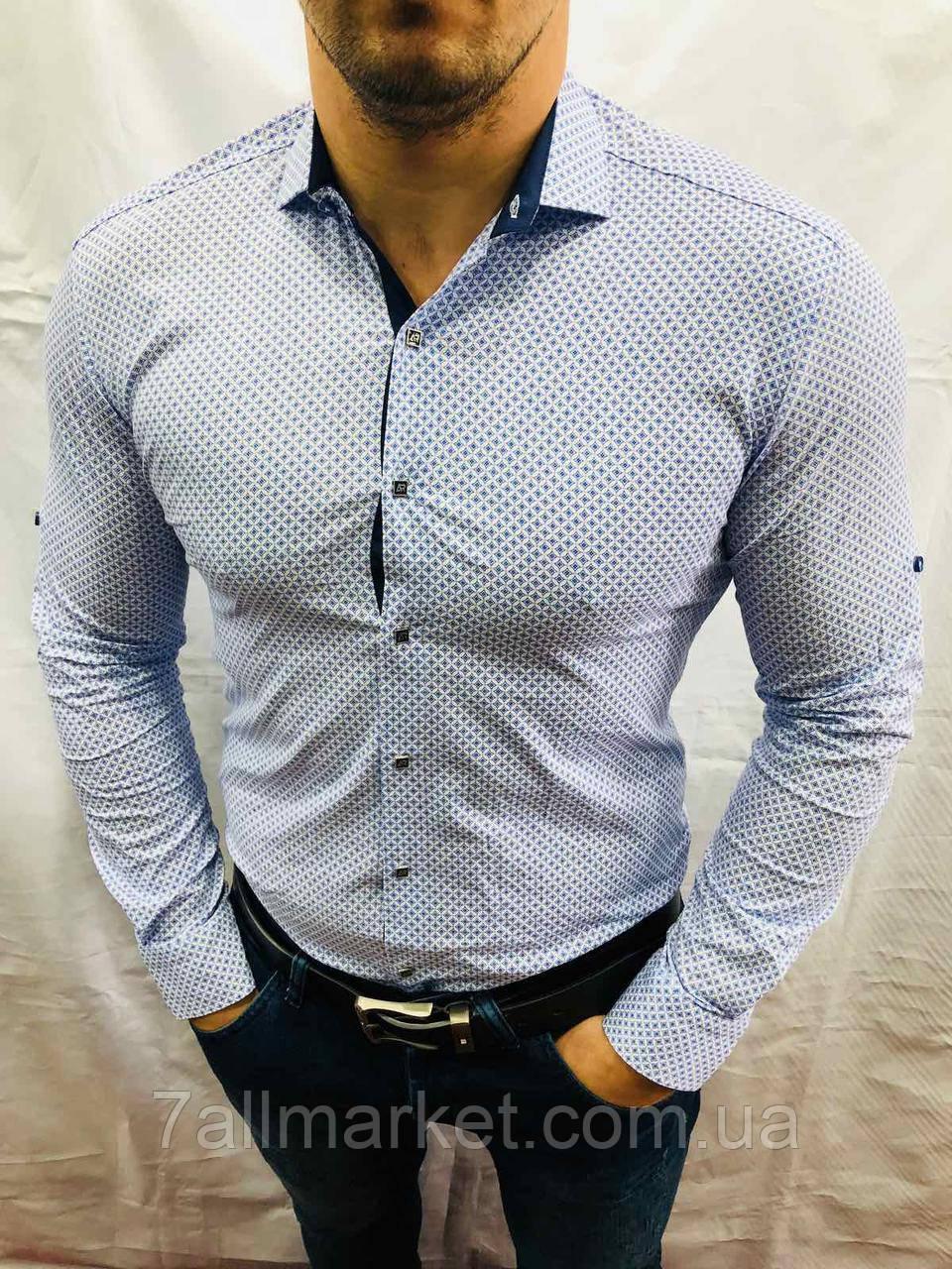 """Сорочка чоловіча з довгим рукавом, принт, розміри M-3XL (5 кол) """"A. ROSSI"""" купити недорого від прямого постачальника"""
