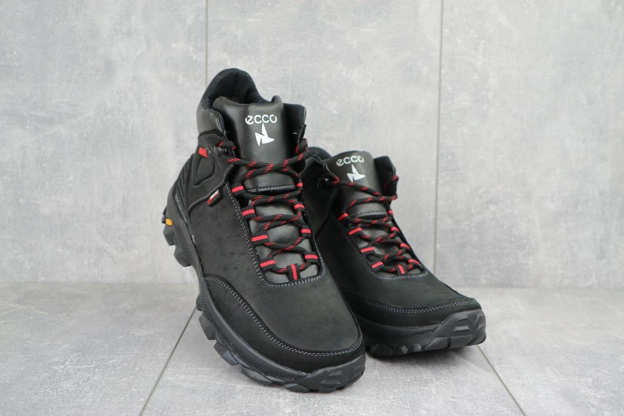Мужские ботинки кожаные зимние черные-красные Gepard 222