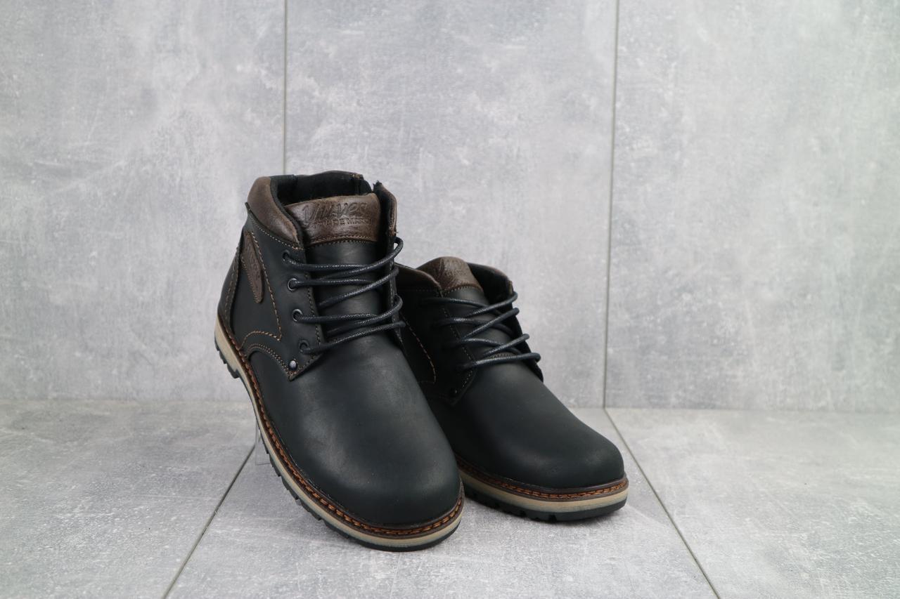 Подростковые ботинки кожаные зимние черные-матовые Yuves 782