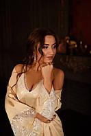 Шелковый комплект (Пеньюар+сорочка) Идеально подойдет на утро невесты!, фото 1