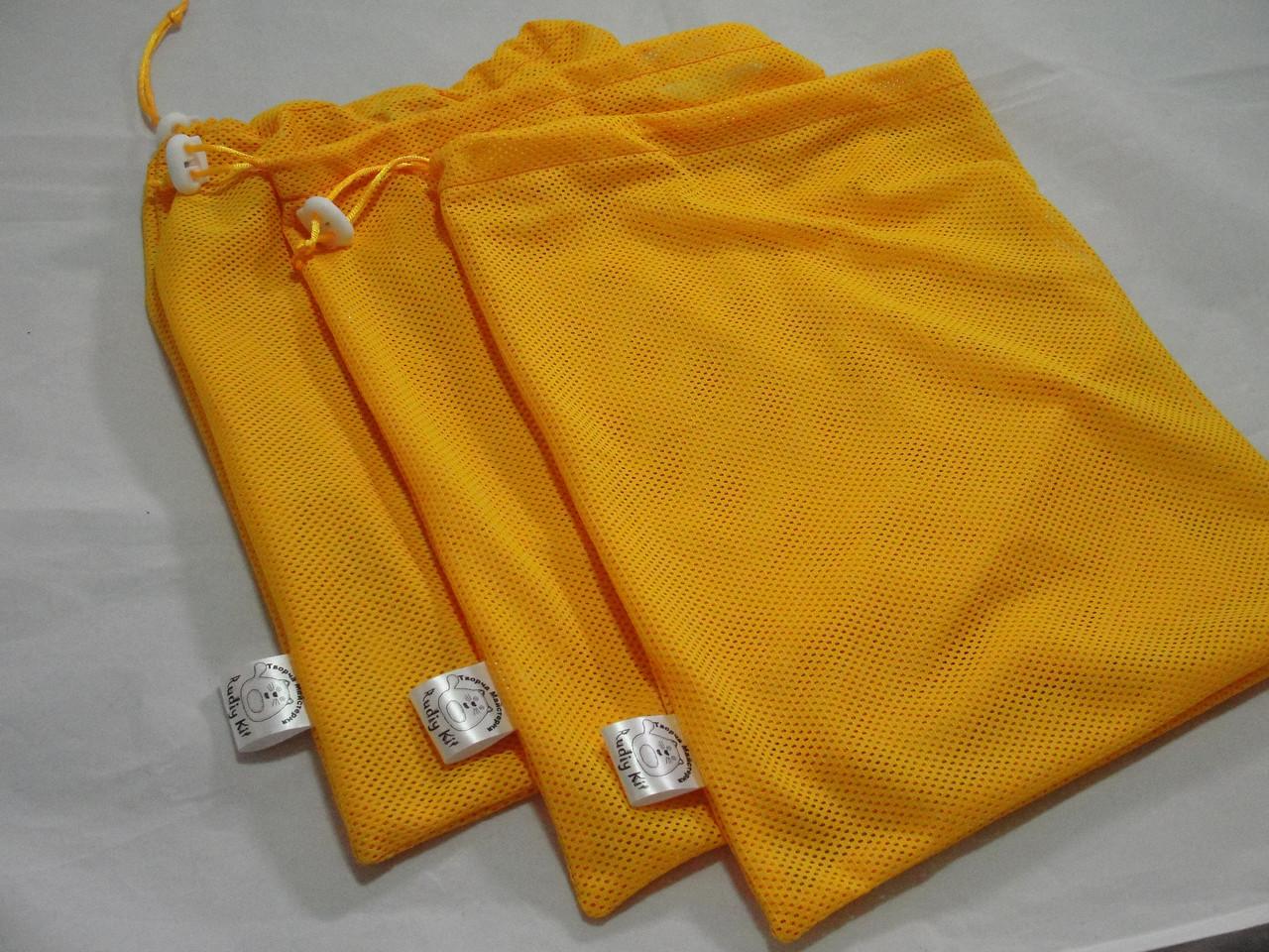 Набор из 3-х многоразовых мешочков для продуктов желтый