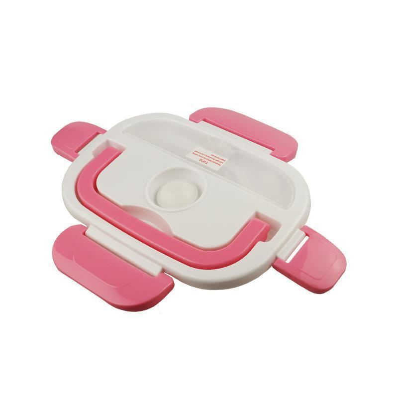 Ланч-бокс пластиковый с подогревом от сети, розовый