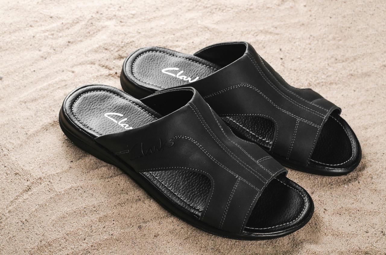 Мужские шлепанцы кожаные летние черные Yuves Z5