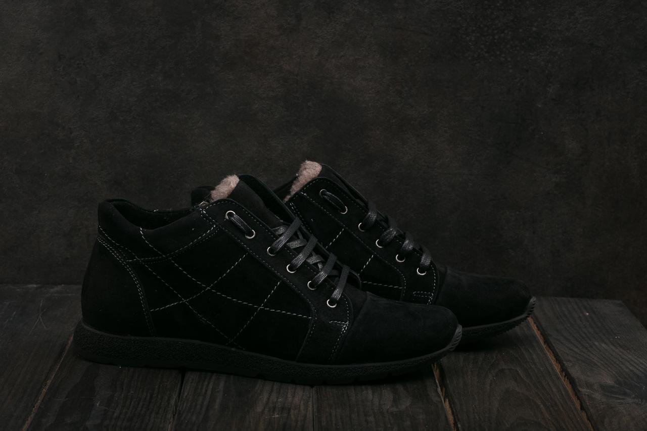 Чоловічі черевики замшеві зимові чорні L-Style 3597
