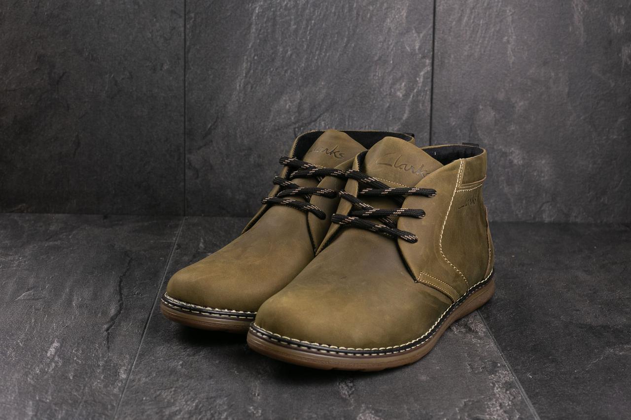 Мужские ботинки кожаные зимние оливковые Yuves 801