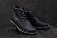 Мужские ботинки кожаные зимние черные-матовые Yuves 444, фото 1