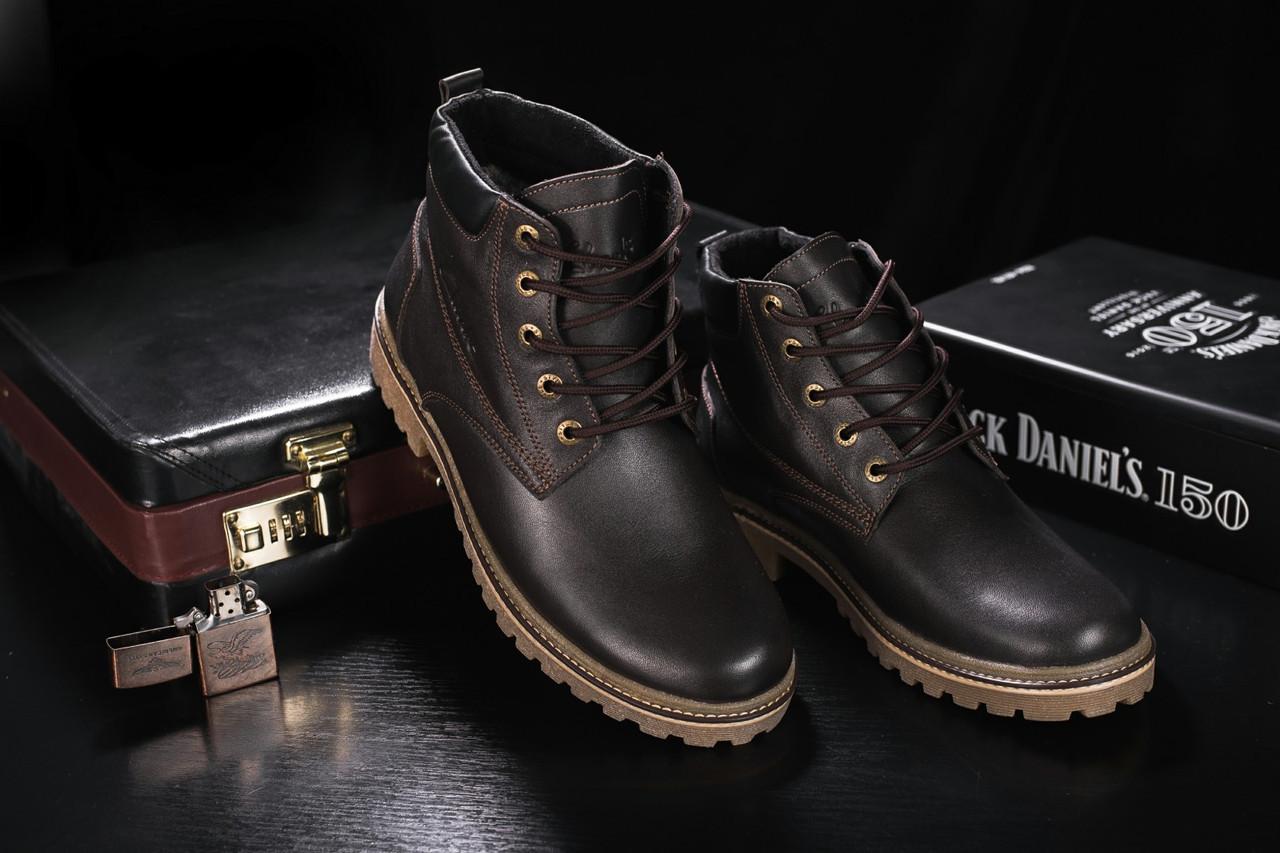 Мужские ботинки кожаные зимние коричневые Yuves 444
