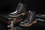 Чоловічі черевики шкіряні зимові коричневі Yuves 444, фото 5