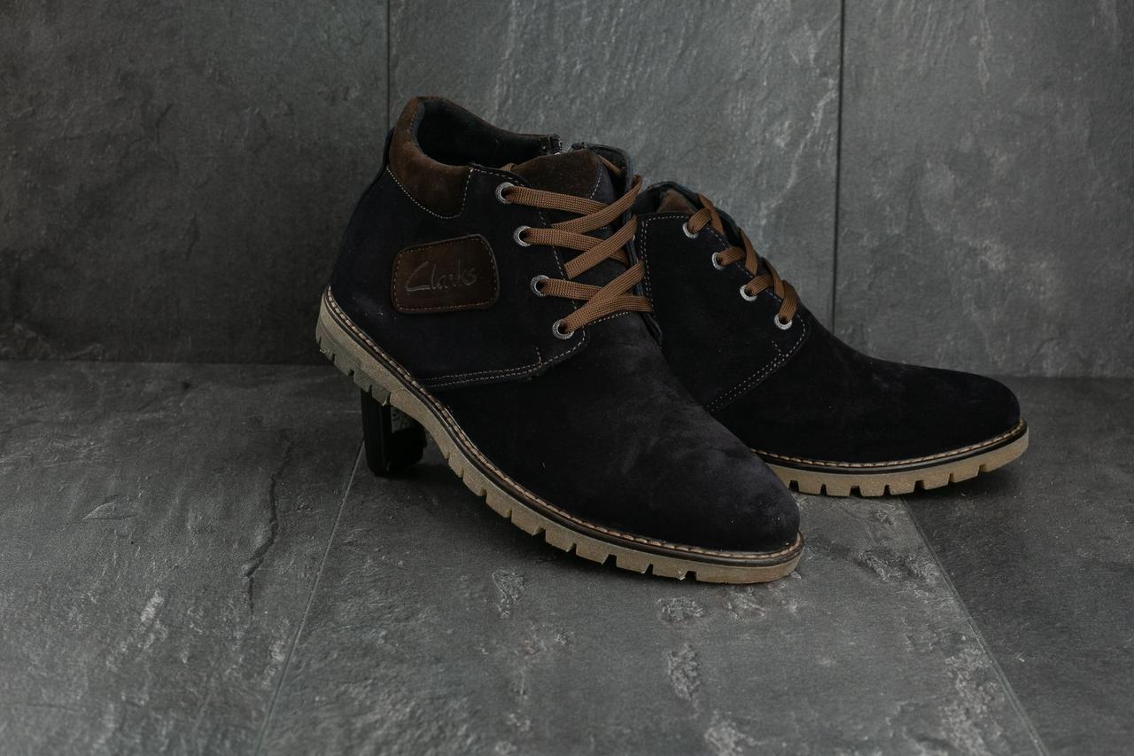 Мужские ботинки замшевые зимние синие Yuves 51