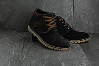 Мужские ботинки замшевые зимние синие Yuves 51, фото 1