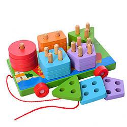 Детская деревянная игрушка Limo Toy геометрика- каталка, 18 см.