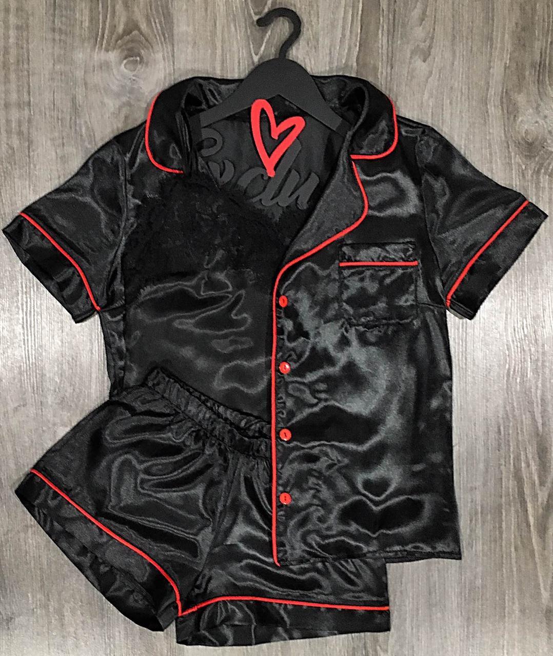 Черная атласная пижама тройка с кантом рубашка+шорты+майка.