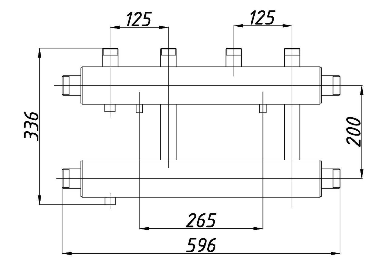 Колектор сталевий Termojet в кожусі з комплектом кріплень виходи вгору К22В.125.(200)