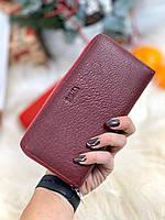 Кожаный женский кошелек на молнии портмоне натуральная кожа бордовый
