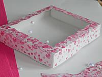 Коробка для пряников Розовые сердца_15х20