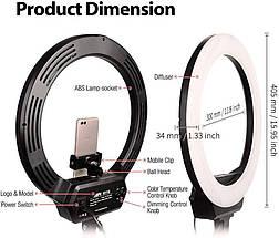 Комплект кільцевого LED світла AFI R116 зі стійкою, круглий видеосвет., фото 3