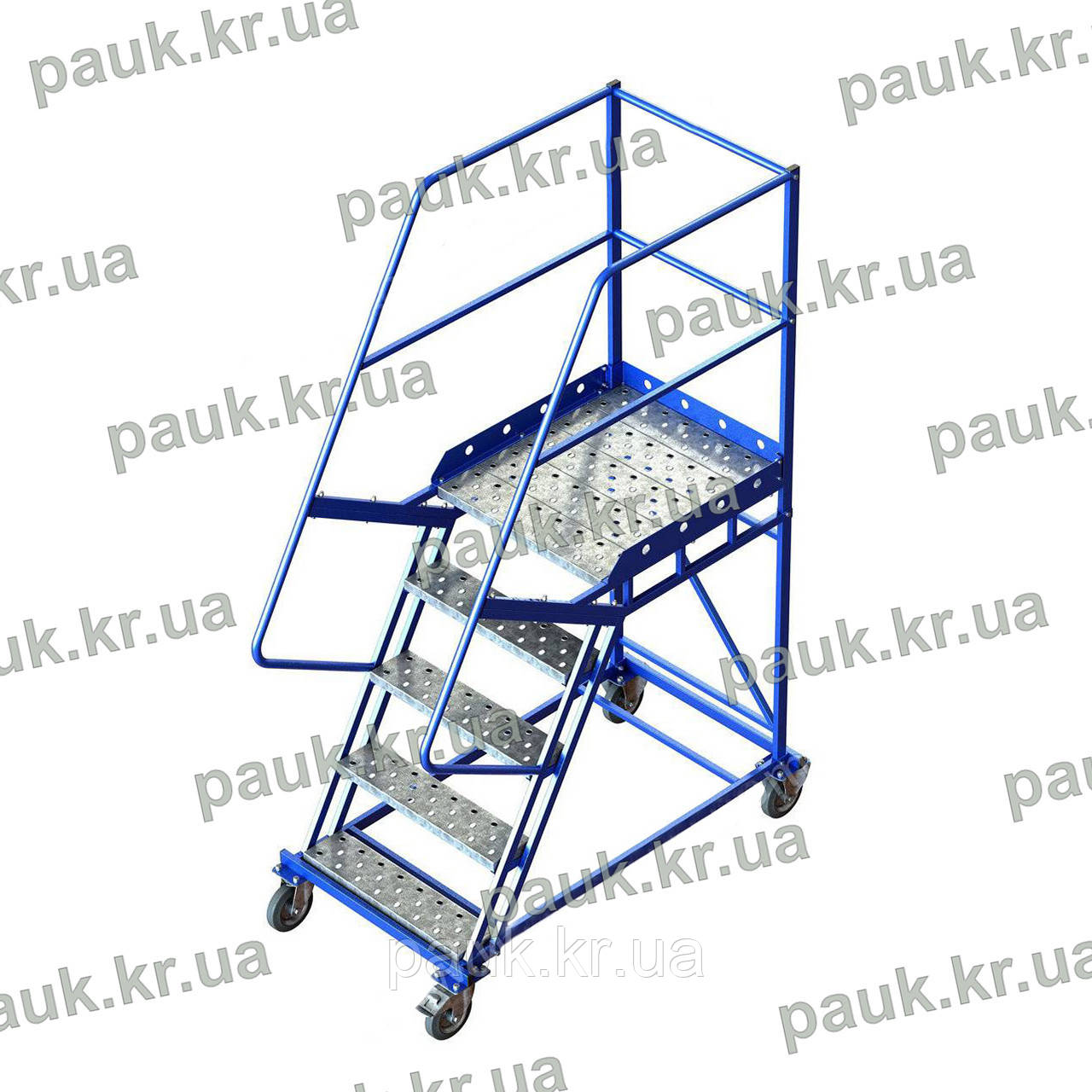 Драбина платформна Н1250 мм, пересувна сталева складська