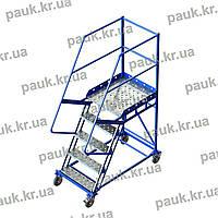 Драбина складська платформна пересувна сталева. Висота 1250 мм