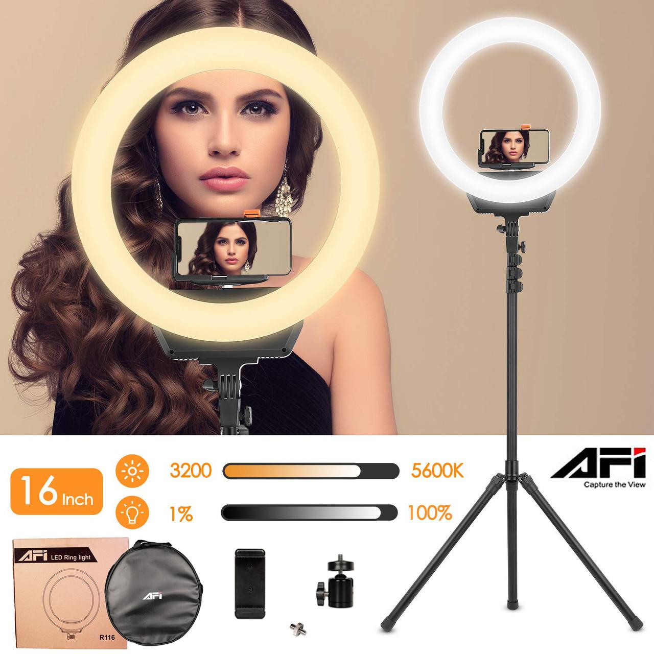 Комплект кільцевого LED світла AFI R116 зі стійкою, круглий видеосвет.