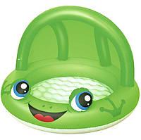 Детский надувной бассейн Bestway Лягушенок 52189 97 х 66 см Зеленый с навесом (RT-8766s9339), фото 1