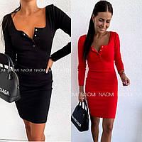 Платье женское, до колена, повседневное, стильное, трикотаж рибана, удобное, на кнопочках, фото 1