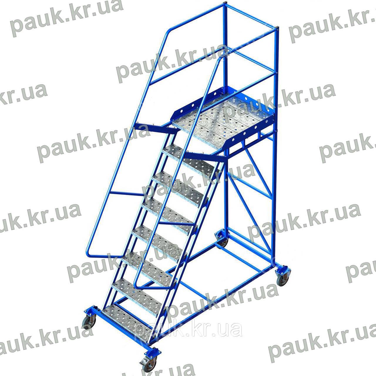 Складська драбина Н2000 мм, драбина з платформою