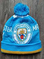 Футбольная шапка Манчестер Сити голубая