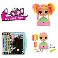 L.O.L. Surprise ЛОЛ ОМГ Леди Неон Голова манекен для причесок  MGA O.M.G. Styling Head Neonlicious, фото 1