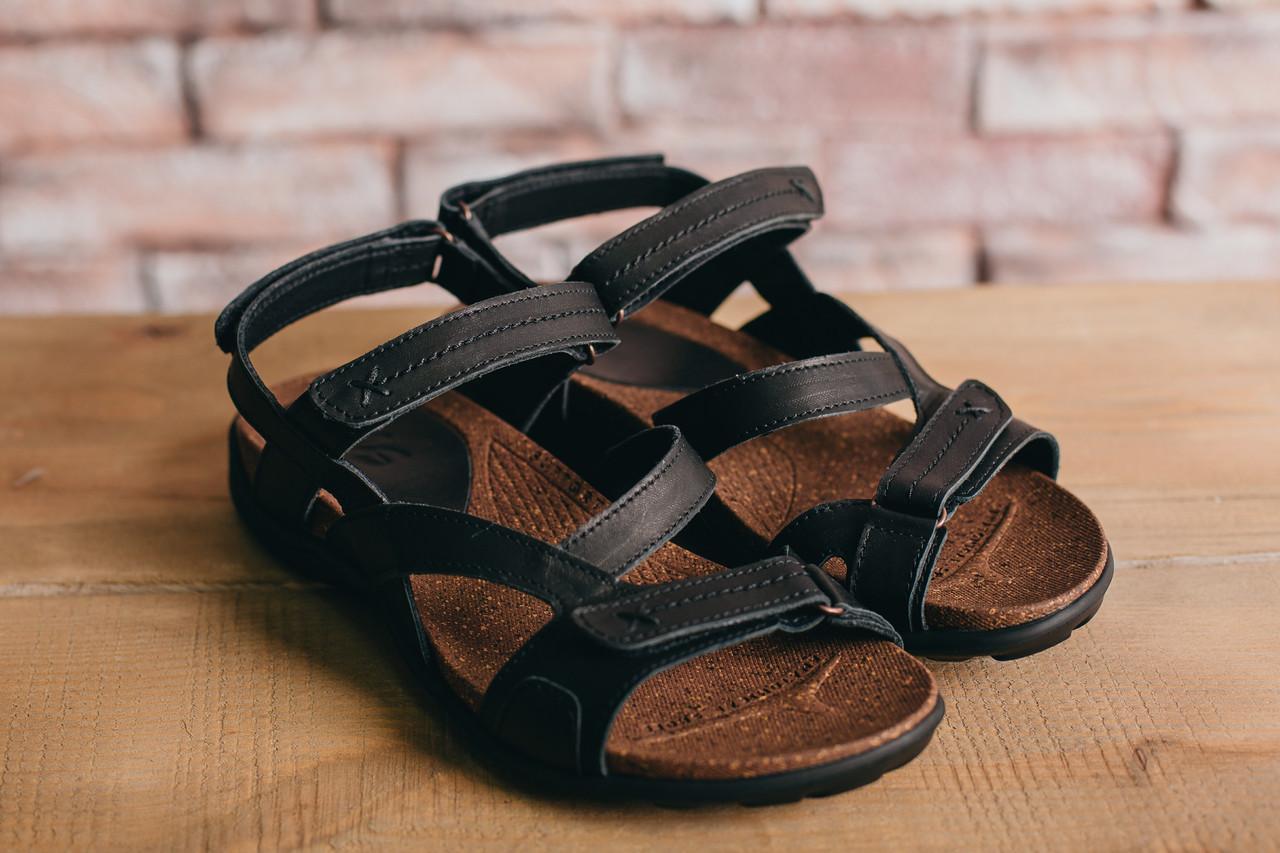 Чоловічі сандалі шкіряні літні чорні-коричневі StepWey 1072