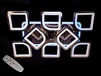 Светодиодная люстра с пультом-диммером и цветной подсветкой черный хром S8060-6+2, фото 1