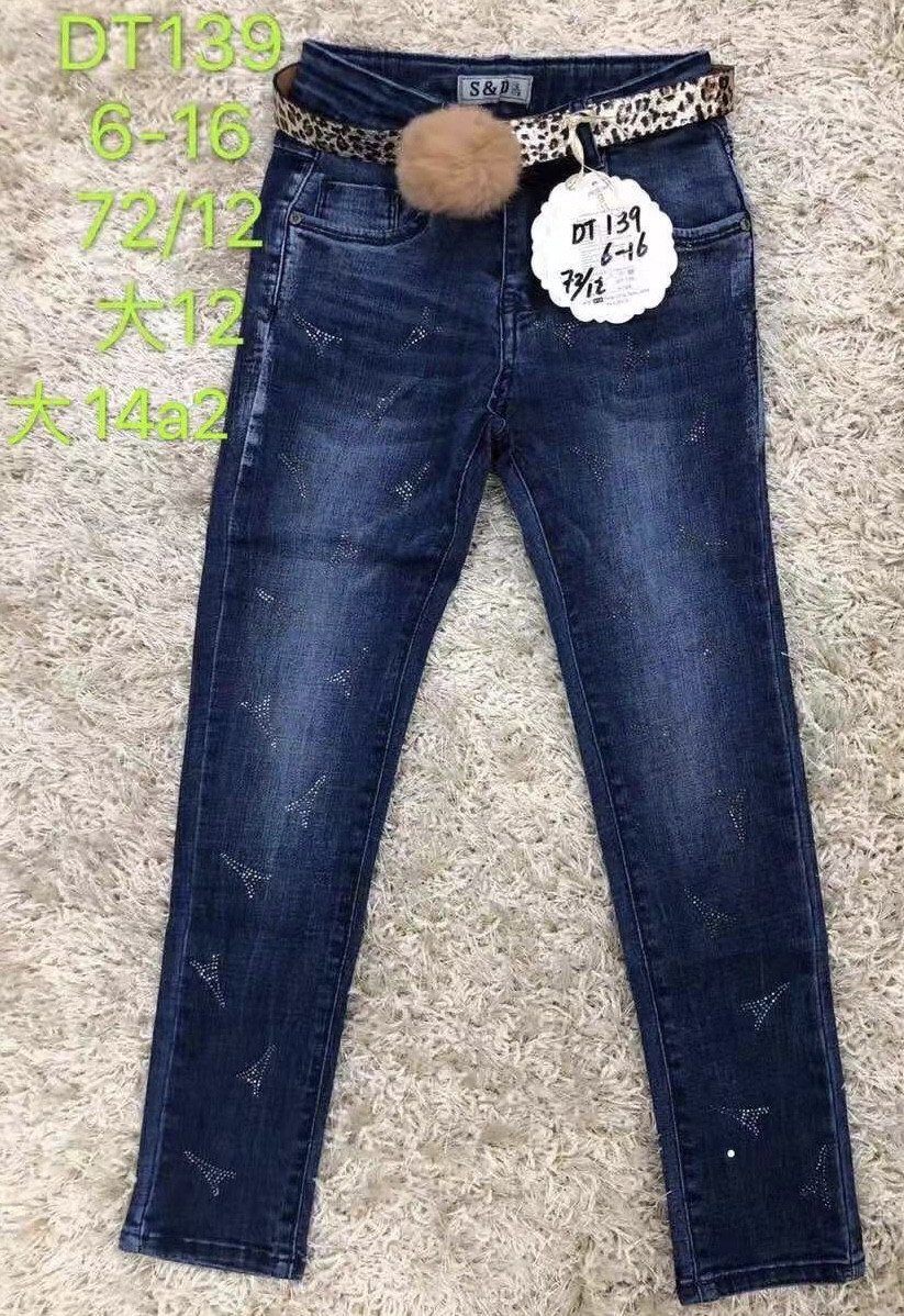 Джинсовые брюки для девочек S&D, 6-16 лет. Артикул: DT139