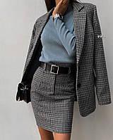 Женский костюм на каждый день (юбка + пиджак) 42 - 46 рр трикотаж шерсть, фото 1