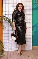 Женский костюм двойка (рубашка + юбка) батал с 48 по 58 рр экокожа