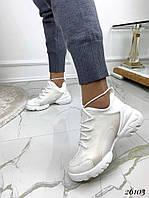 Кроссовки  женские  демисезонные  белые текстильные, фото 1