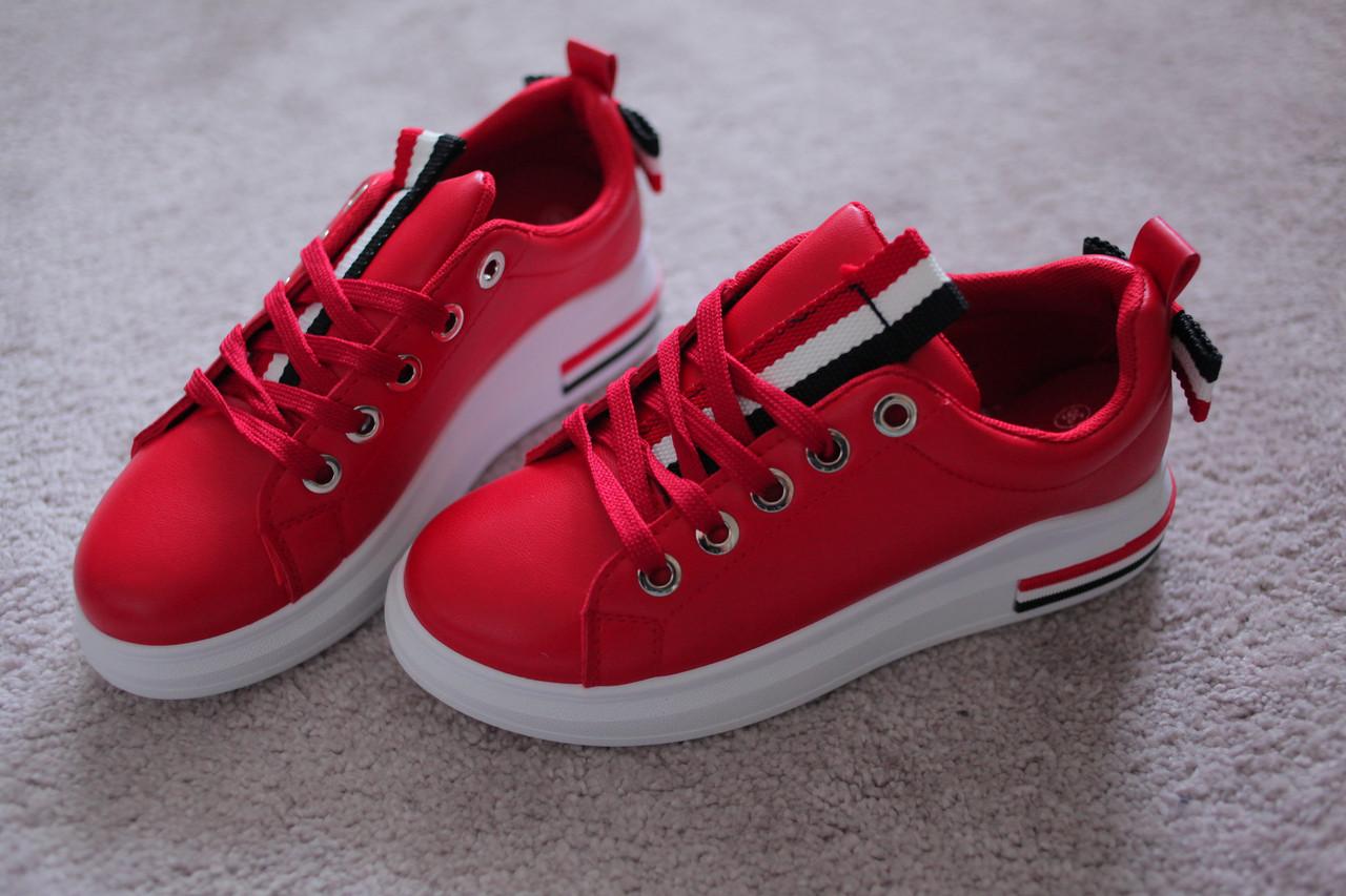 Жіночі кросівки червоні на білій підошві 38-41