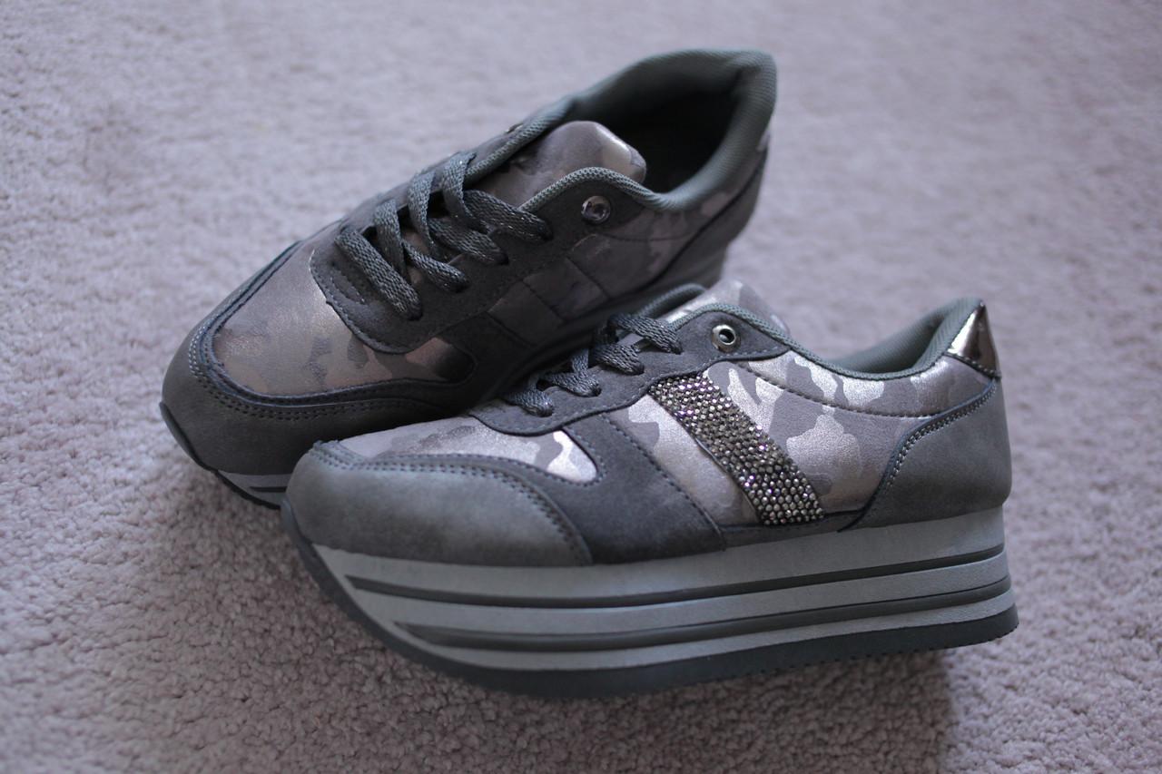 Женские кроссовки криперы слойка Италия серые 40-41