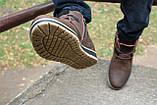 Мужские ботинки кожаные зимние коричневые-матовые Yuves 771 kor, фото 7