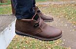 Мужские ботинки кожаные зимние коричневые-матовые Yuves 771 kor, фото 9