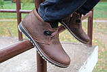 Мужские ботинки кожаные зимние коричневые-матовые Yuves 771 kor, фото 10