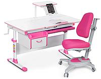 Комплект Evo-kids Evo 40 PN Pink (арт. Evo-40 PN + кресло Y-110 KP) /(стол+ящик+полка+кресло)/ белая столешниц