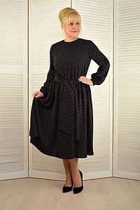 Платье в горошек темно-синее - Модель 1806-3