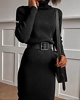 Женское модное платье с поясом 42 - 46 р. из ангоры - рубчик