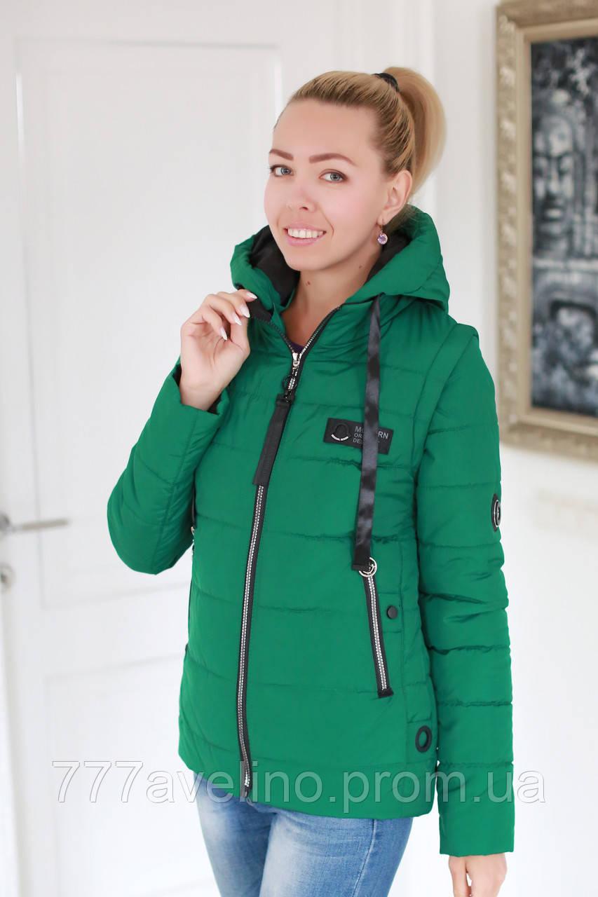 Куртка жіноча демісезонна трансформер в жилет розмір 42, 44, 46, 48